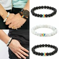 Lover Couple Women Men Stone Beaded Bracelet Gay LGBT Rainbow Friendship Jewelry