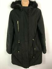 WOMENS GEORGE ASDA BLACK ZIP UP PARKA PARKER COAT WITH FUR HOOD SIZE UK 12