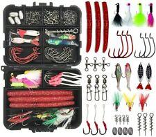 Fishing Tackle Accessories Kit 100Pcs Fishing Hooks Swivel Snap Jig Plastic Worm