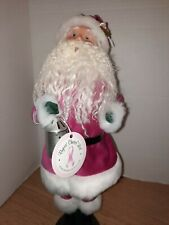 Byers Choice Caroler 2009 Breast Cancer Santa Dark Pink Velvet Signed by Joyce