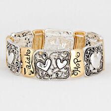 Faith Love Hope Bracelet Filigree GOLD Heart Faith Believe Inspire Jewelry