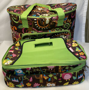 Large insulated canvas bag with matching double casserole bag