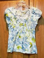 Romy Women's Blue Floral 3/4 Sleeve Pintuck Ribbon Peasant Top Blouse Size M