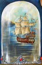 """Painting Original oil painting 30""""x17,5""""  contemporary Art Surrealism GHOST SHIP"""