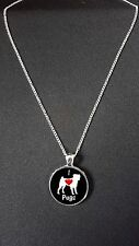 """I Love Pugs Pendant On 18"""" Silver Plated Fine Metal Chain Necklace N466"""