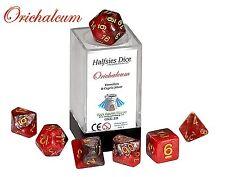 Halfsies Dice - Orichalcum - Polyhedral 7 Dice set - D20 D100 D12 D10 D8 D6 D4