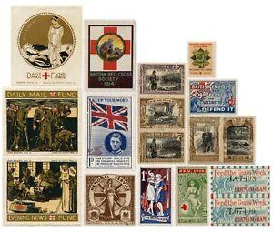 WAR FUND + RED CROSS CHARITY LABELS CINDERELLA etc..WW1 + WW2.. PRICED SINGLY