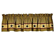 New Primitive Country Tan Khaki BLACK APPLIQUE STAR VALANCE Stars Curtains