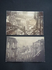 CROSLANDS MILL  Yorkshire  Huddersfield  PAIR  real photographic postcard  FIRE