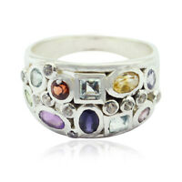 Natural Gemstone  Fancy Shape Faceted Multi Gemstone rings - 925 Sterling AU