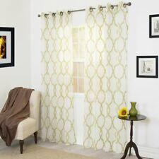 Trellis Emboidered Geometric Sheer Grommet Curtain Panel. Set of 2