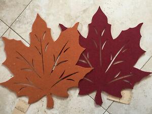 Felt Reversible set of 4 leaves placemat Orange Wine Green Rustic Red
