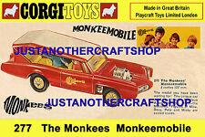 Corgi Toys 277 The Monkees Monkeemobile Large Size Poster Shop Sign Advert