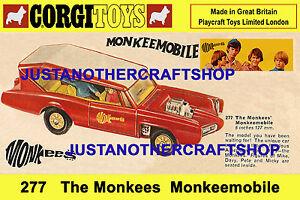 Corgi Toys 277 Monkees Monkeemobile 1968 Large A3 Size Poster Shop Sign Advert