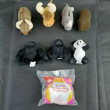 McDonald's Happy Meal Animal Pals Lot of 8 Mini Plush 1997 Yak Bear Rhino Panda