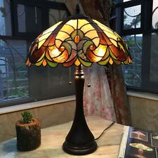 Tiffany style Table Lamp Jeweled Desk Floral Stained Glass Home Decor Light