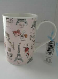 Paris Powder Soft Pink Mug Cup 10 oz. Eiffel Tower City Landmarks Scenes