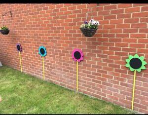 4 x Children's Outdoor Sunflower Chalkboards Garden Handmade, nursery, school