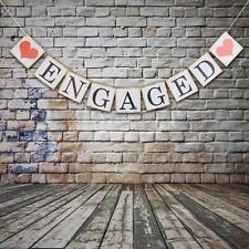 Engaged Hearts Banner Bunting Wedding Bridal Shower Engagement Party Decor UK