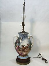 """Antique Bawo and Dotter BD Limoges Handpainted Urn Vase Table Lamp, 32"""" Tall"""