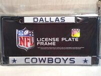 "Dallas Cowboys WHITE Metal Chrome License Plate Frame Auto Truck Car 6""X12"""