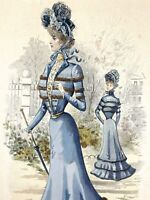 1899 SPANISH FASHION antique color lithograph LA MODA ELEGANTE ILUSTRADA Madrid