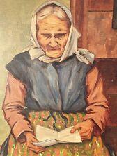 altes Gemälde alte Frau mit Buch signiert