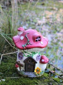 Solar Garden Ornament Fairy Pixie Home Toadstool Indoor Outdoor Gift Patio