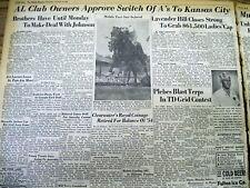 2 1954 newspapers PHILADELPHIA ATHLETICS Baseball team moves to KANSAS CITY