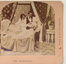 Genre Young couple in Bed with Crying Baby First Lesson Kilburn Stereoview 1897