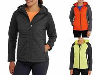 FREETECH WOMEN'S LADIES QUILTED JACKET WITH SOFTSHELL SLEEVES HOODED WITH HOOD
