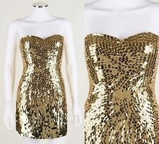 SHERRI HILL 2226 GOLD SILK SEQUIN PAILLETTE STRAPLESS MINI PARTY PROM DRESS SZ 2