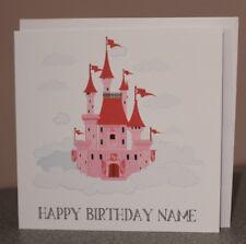 "Happy Birthday, personalised card, princess castle card, 6"" blank & envelope"