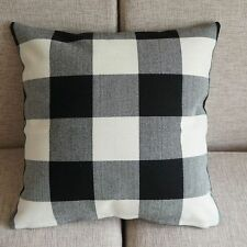 "White Black Checked Linen Pillow Case Sofa Decor Cushion Cover 45cm 18"" PT173"