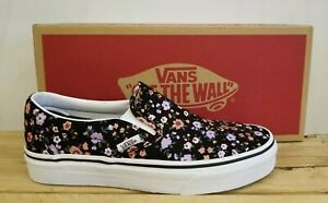 Vans Classic Slip-On Floral Black Skateboarding Lifestyle Shoes for Women