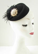 Black Gold Ivory Feather Pillbox Hat Fascinator Vintage 1940s 1920 Headpiece B39