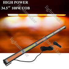 108W COB LED HIGH POWER AMBER&WHITE TRAFFIC LIGHT BAR BEACON EMERGENCY STROBE