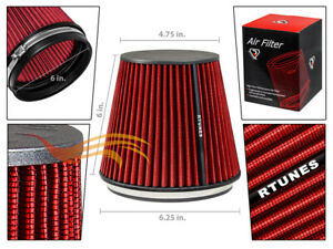 "RTunes Racing RED Short 6"" 152mm Inlet Universal Cone Dry Air Intake Filter"