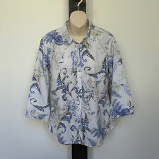 'EQUUS' BNWT SIZE '12' BLUE,TAUPE, YELLOW & WHITE PRINT COTTON 3/4 SLEEVE SHIRT