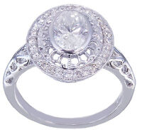 14k White Gold Oval Forever One Moissanite and  Diamond Engagement Ring 1.25CTW