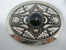 Cowboy Western Belt Buckle #880 - German Silver with Onyx Colored Stone