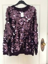 Next Purple Sequin Xmas Jumper Sz 16 Bnwt £46