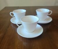Set of 3 Franciscan Cloud Nine Whitestone Ware Coffee Cups Saucers Mid Century