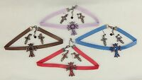Faux Leather & Gemstone Choker w/Cross Pendant And Earrings ~ Choice of Colors