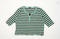 Maine Womens Size 16 Striped Cotton Blend Green Top (Regular)