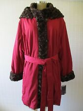 HAL RUBENSTEIN BROWN LONG SLEEVE FAUX FUR HOODED COAT SIZE 3 X - NWT