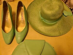 Ladles JACQUES VERT GREEN SHOES Size 6,BAG AND HAT.