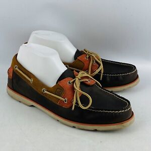 Mens 10M Sperry Top-Sider Boat Shoes Brown Leather Salmon Accent 2 Eye