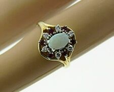 2.50Ct Oval Cut Fire Opal & Ruby Cluster Engagement Ring 14K Yellow Gold Finish