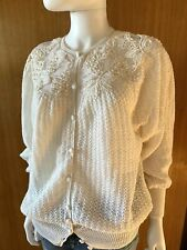 Lim's Vintage All Hand Crochet Semi See Through Cardigan, Off-White Size M to L
